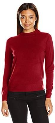 Sag Harbor Women's Petite Size Long Sleeve Low Mock Neck Ideal Cashmerlon Sweater