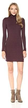 Enza Costa Women's Rib Long Sleeve Turtleneck Midi Dress