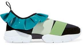 Emilio Pucci Patent Leather-trimmed Color-block Neoprene And Suede Slip-on Sneakers