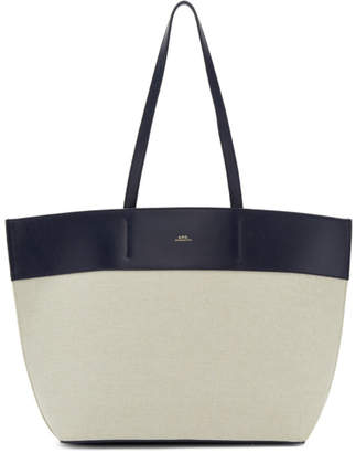 A.P.C. Blue and Off-White Totally Tote