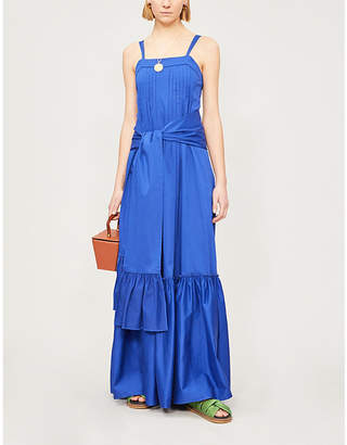 Alexis Ophira pleated stretch-cotton maxi dress