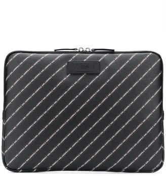 Karl Lagerfeld striped logo laptop case