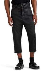 Rick Owens Men's Waxed Drop-Rise Crop Jeans - Black