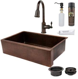 Premier Copper Products KSP2 KASDB35229 Single Basin Farmhouse Sink with Faucet