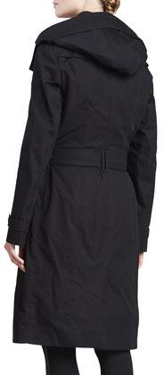 Burberry Gabardine Double-Breasted Trenchcoat, Black