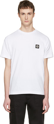 Stone Island White Small Logo T-Shirt $95 thestylecure.com