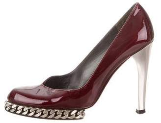 Stuart Weitzman Patent Leather Chain-Embellished Pumps