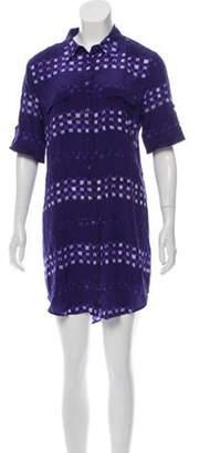 Equipment Printed Silk Dress Indigo Printed Silk Dress