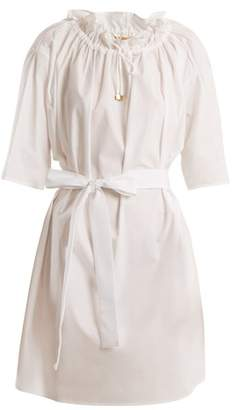 Batiste Albus Lumen - Lola Gathered Neck Cotton Mini Dress - Womens - White