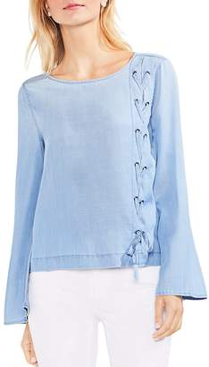 Vince Camuto Lace-Up Side Chambray Top
