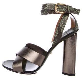 Gucci Snakeskin-Accented High-Heel Sandals