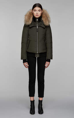 Mackage ROMANE bomber cut down jacket with natural fur trim