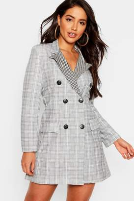 boohoo Contrast Dogtooth Blazer Dress