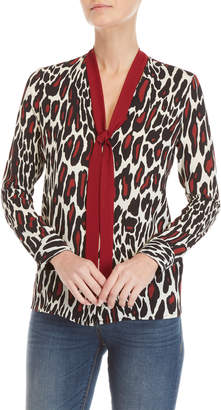 Gaudi' Gaudi Leopard Print Tie-Neck Top