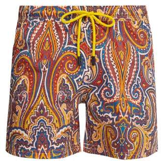 Etro Paisley Print Swim Shorts - Mens - Orange Multi