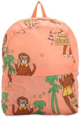 Mini Rodini Monkey Print Nylon Canvas Backpack