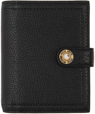 99f451358466 Miu Miu Black Madras Leather Jewels Bifold Wallet