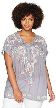 Johnny Was Women's Plus Size Relaxed Embroidered Blouse with Curved Hem