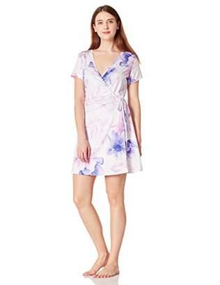 Selene Women's Wrap Pajama Dress Casual Nightgown Short Sleeve Printed XXL