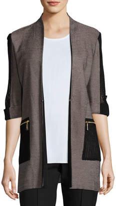 Misook 3/4 Contrast Sleeve Zip-Pocket Jacket, Plus Size