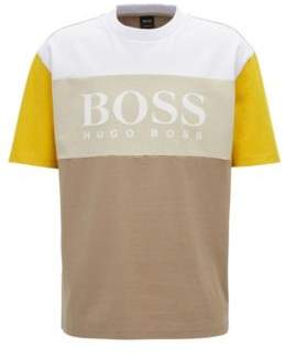 BOSS Hugo Boxy fit logo T-shirt in color-block cotton M Beige