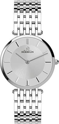 Michel Herbelin Epsilon Midi Bct Women's Quartz Watch with White Dial Analogue Display and Silver Stainless Steel Bracelet 17345/B11