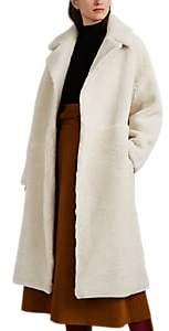Women's Shearling Cocoon Coat - Cream