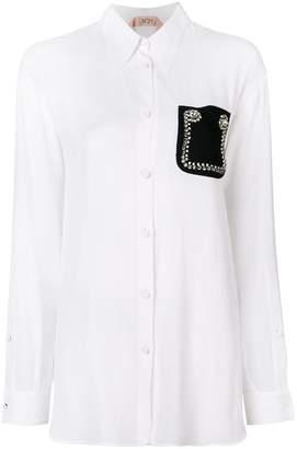 No.21 embellished pocket shirt