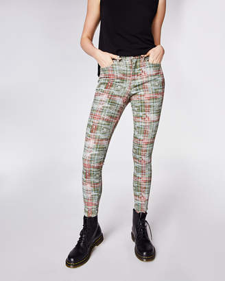 Nicole Miller Weathered Plaid Jeans