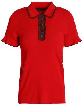 ALEXACHUNG Ruffle-Trimmed Ribbed-Knit Polo Shirt
