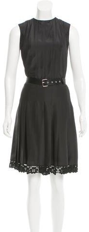 Marc Jacobs Marc Jacobs Lace-Trimmed Belted Dress