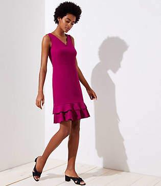 LOFT Petite Tiered Flounce Dress