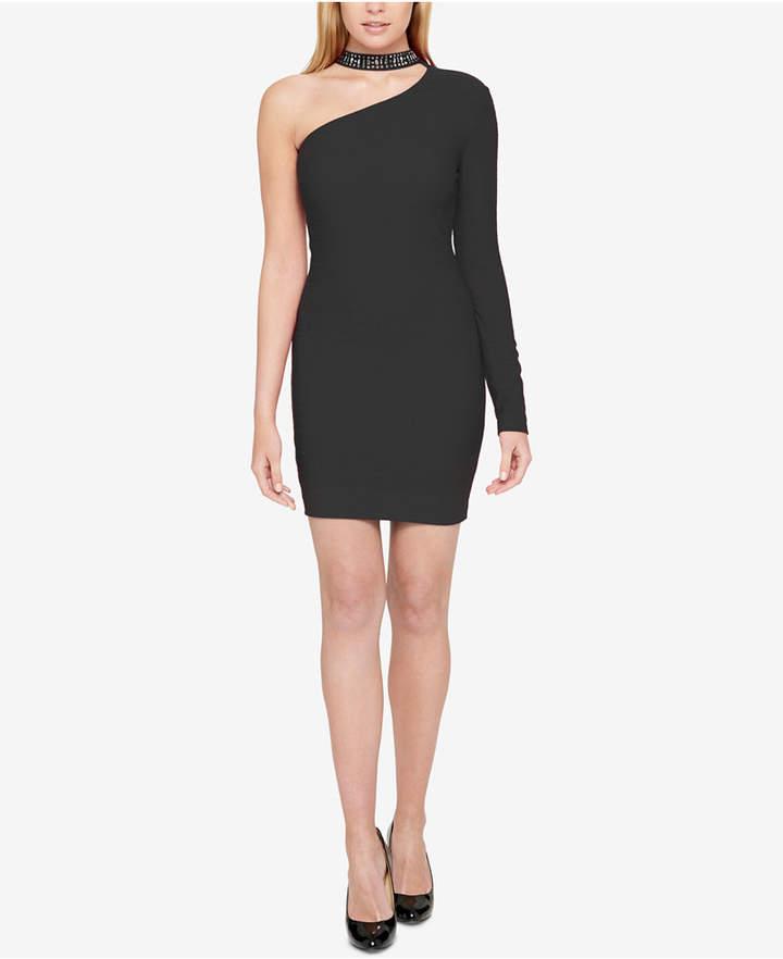 Guess Embellished Choker One-Shoulder Dress