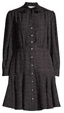 Rebecca Taylor Women's Dot Silk A-Line Shirt Dress