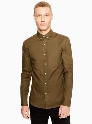 Topman Khaki Stretch Skinny Oxford Shirt