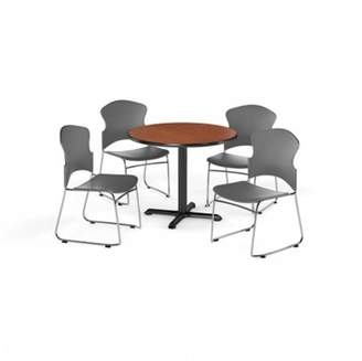 "OFM Multi-Use Break Room Package, 42"" Round Table with Plastic Stack Chairs, Mahogany Finish with X-Style Pedestal Base and Gray Seats (PKG-BRK-035)"