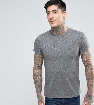 Farah Gloor slim fit logo marl t-shirt in gray