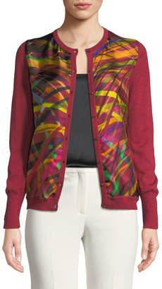 Escada Abstract-Stripe Silk-Front Cardigan
