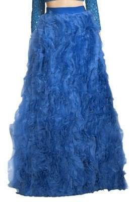 Alice + Olivia Posey Ruffled Silk Maxi Skirt