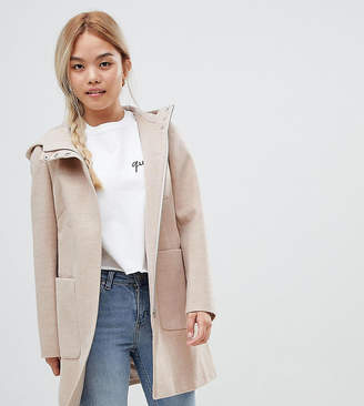 Asos DESIGN Petite zip through coat with hood