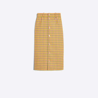 Balenciaga Butonned Skirt in yellow and neon pink checked wool
