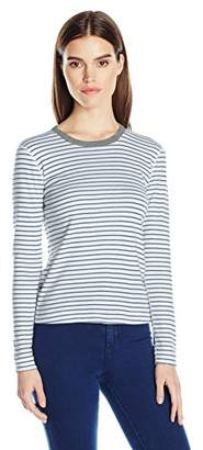 Three Dots Women's Stripe Long Sleeved Tee