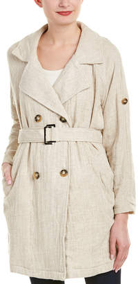 Moon River Double-Breasted Linen-Blend Coat