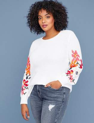 Lane Bryant Embroidered-Sleeve Sweater