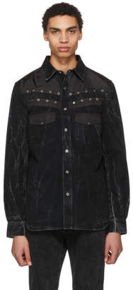 Givenchy Black Denim Eyelet Shirt
