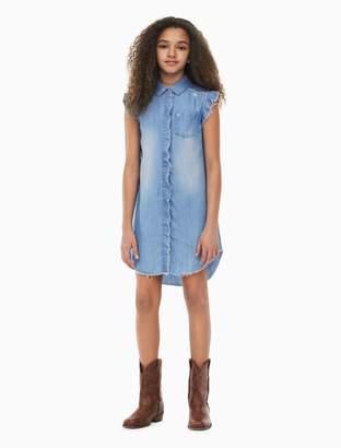 Calvin Klein girls raw-edge denim shirtdress