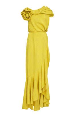 Hellessy Harper Draped Floral-Detailed Cloqué Dress