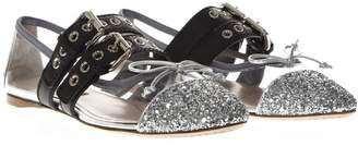 Miu Miu Black & Silver Pvc & Leather Pointy Buckled Slippers