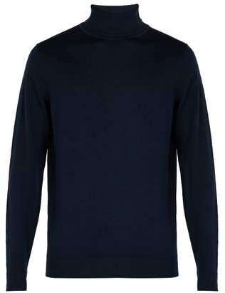 Sunspel - Roll Neck Merino Wool Sweater - Mens - Navy