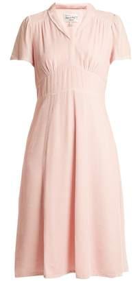 HVN Morgan short-sleeved velvet dress